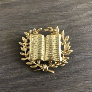 Brass gold color academics book wreath pin brooch